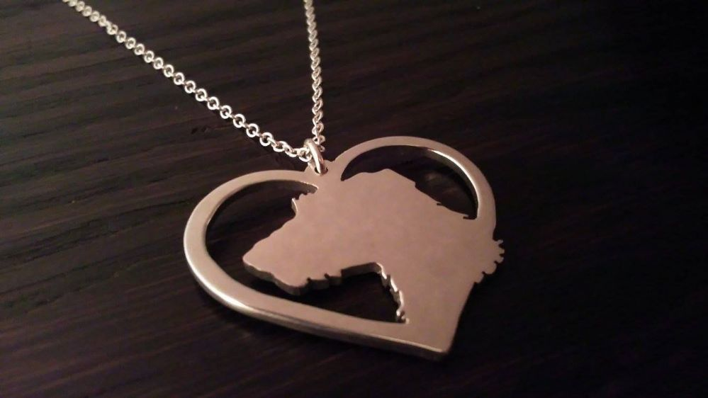 Wire Haired Lurcher Dog Silhouette Pendant Sterling Silver